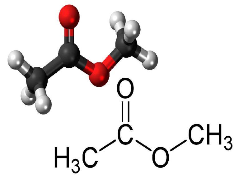شکل مولکولی و فرمول متیل استات